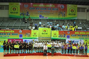 CLB bóng chuyền nữ BTL Thông tin - LienVietPostBank đăng quang tại giải bóng chuyền Cup PV Đạm Cà Mau 2018